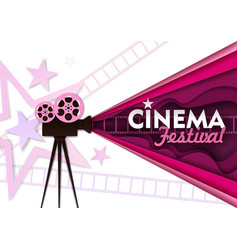 Cinema festival paper cut poster template vector