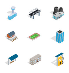 city elements icons isometric 3d style vector image