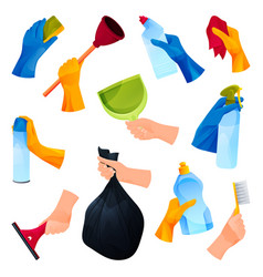 Cleaning products or cleaners hands icons set vector