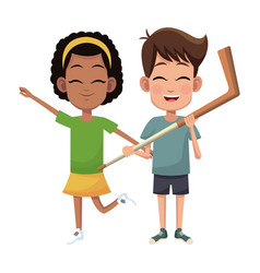 Couple children hockey sport vector