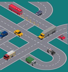Crossing roads construction with various cars vector