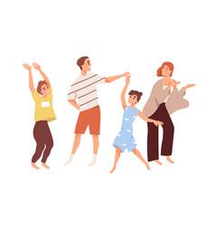 cute happy family dancing joyful children and vector image
