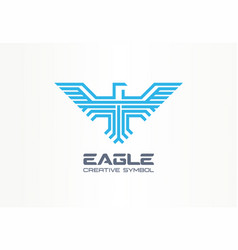 eagle hawk spread wings falcon creative symbol vector image