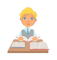 elementary school student sitting at the desk and vector image