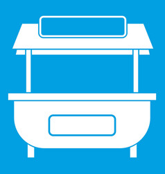 Empty counter with canopy icon white vector