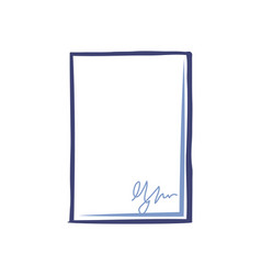 Empty sheet paper signature office page isolated vector