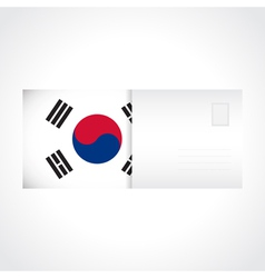envelope with flag south korea card vector image