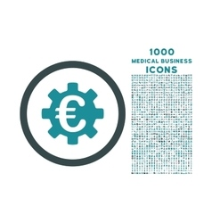 Euro Machinery Rounded Icon with 1000 Bonus Icons vector image