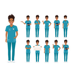female african nurse character set vector image