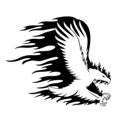 fiery eagle in flight vector image