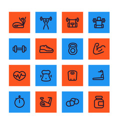 Fitness and gym training line icons set vector