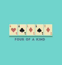 Flat icon on stylish background poker four vector