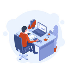 freelance home office male character working vector image