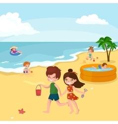 Fun at beach Happy kids plaing sand around water vector