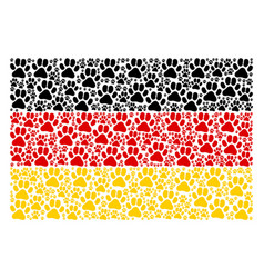 Germany flag mosaic of paw footprint items vector