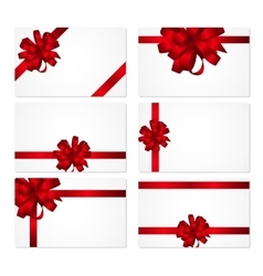 Gift Card with Red Bow and Ribbon Set vector
