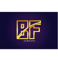 Gold golden alphabet letter bf b f logo vector