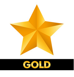 gold star 3d shiny metal isolated on white vector image