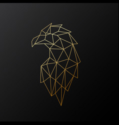 golden polygonal eagle isolated vector image