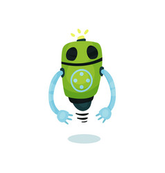 green friendly robot artificial intelligence vector image