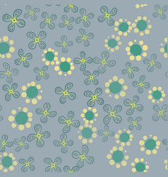 green garden with stylized flowers vector image