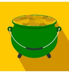 Green pot full of gold coins flat icon vector