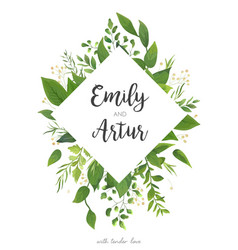 Green wedding invitation floral invite card design vector