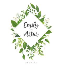 green wedding invitation floral invite card design vector image