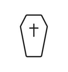 halloween grave icon in line style gravestone vector image