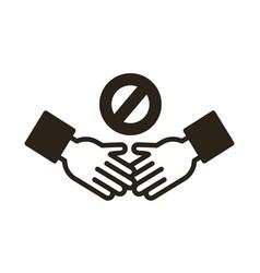 handshake denied signal line style icon vector image