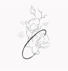 handwritten line drawing floral logo monogram c vector image