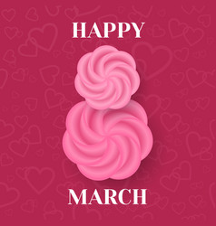 happy 8 march greeting card vector image