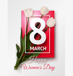 Happy womens day march 8 greeting card vector