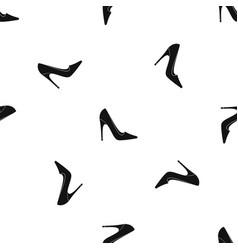 High heel shoe pattern seamless black vector
