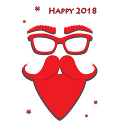 hipster red santa claus mask on white background vector image
