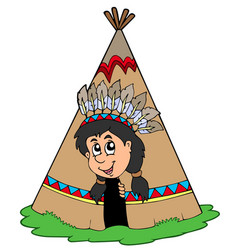 indian in small tepee vector image