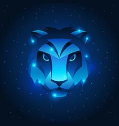 Leo zodiac sign blue star horoscope symbol vector