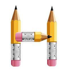 Letter h pencil icon cartoon style vector