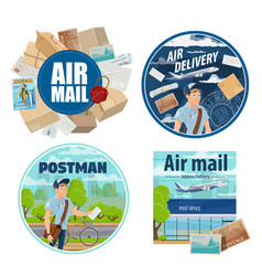 Mail delivery postman and post parcels vector