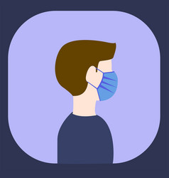 Man wearing maskside view image flat vector