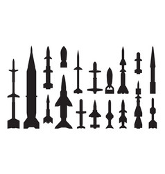 military guided weapon black glyph icons set vector image