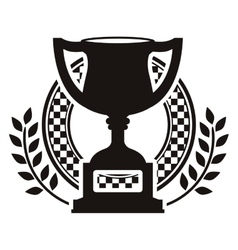 monochrome trophy cup and dish with olive branch vector image vector image