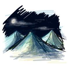 Night landscape sketch vector