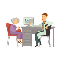 Old woman patient visit doctor cartoon icon vector