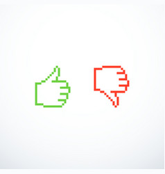 pixel like and dislike icons thumbs up and down vector image