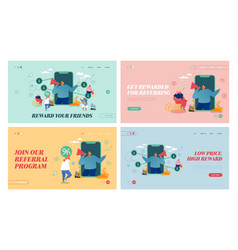 Referral program refer a friend landing page vector