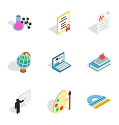 School icons isometric 3d style vector