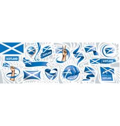 set national flag scotland in vector image