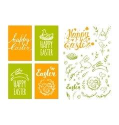 Set of Easter card and hand drawn Easter vector image