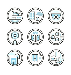 Set residential security icons vector